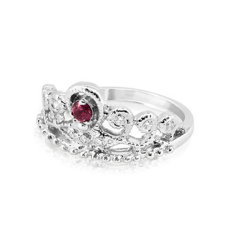 Golden Crown Ruby & CZ Inlaid Ring