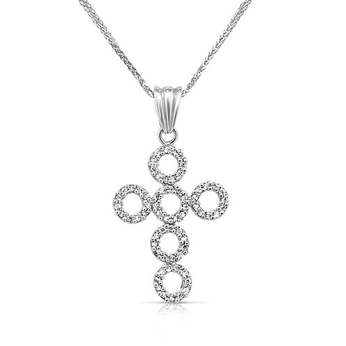 Diamond Inlaid Loops Cross Pendant