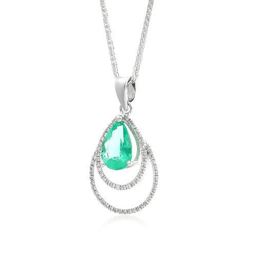 Emerald Pear, Diamond Pendant