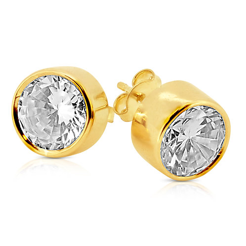 Prominent Classy Gold 8mm CZ Earrings