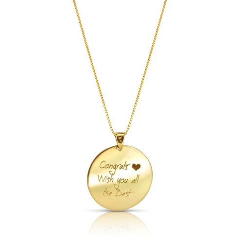 Congratulations Engraved Gold Pendant