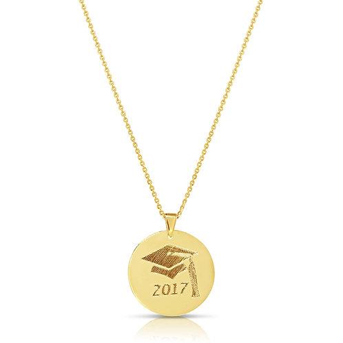 Gold Custom Engraving Graduation Pendant Necklace