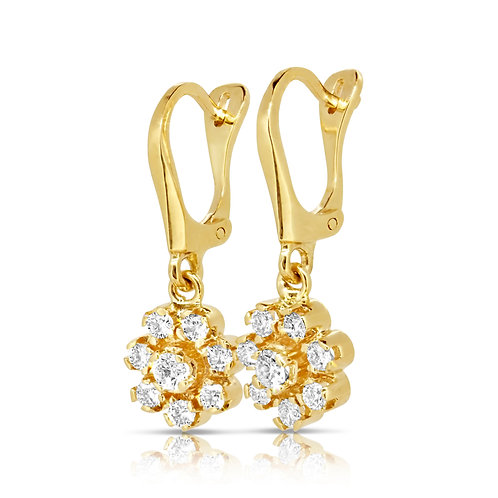 Diamond Flower Drop Gold Earrings