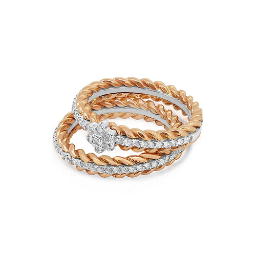 White & Rose Ring Band Set