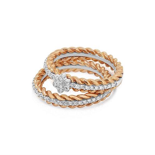 White & Rose Ring Band Set
