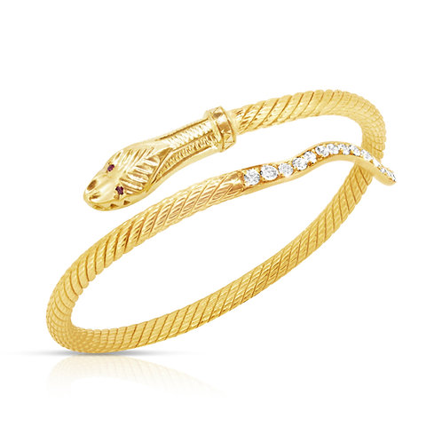 Diamond Tale Ruby Eyes Snake Bracelet