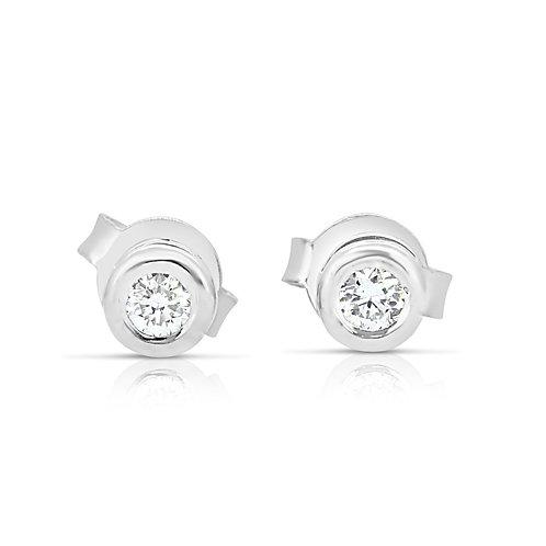 Solitaire Diamond White Gold Earrings