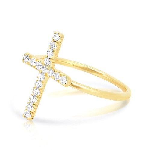 14K Gold Cross Ring