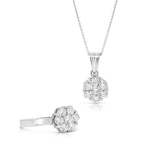 Grand Pave Blossom Solitaire Diamond Set
