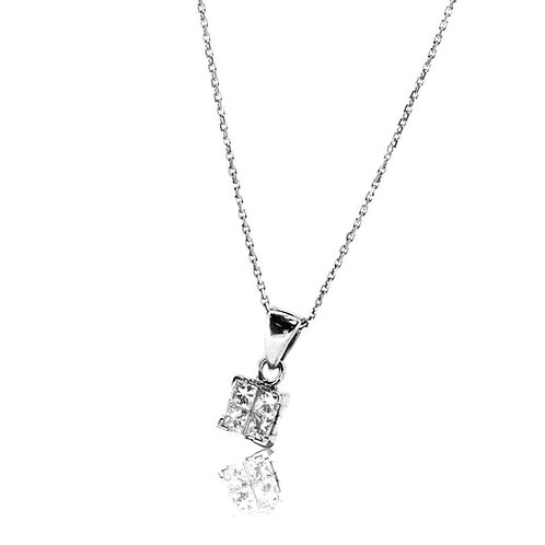 Diamond Square Invisible Setting Pendant