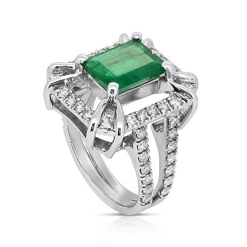 Natural Emerald Diamond Double shank handmade