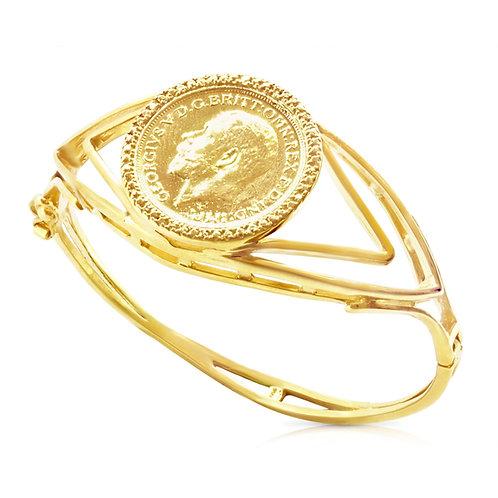 Modern Decorated Golden Coin Bracelet