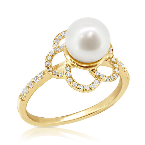 Pearl Rose Blossom Gold Ring