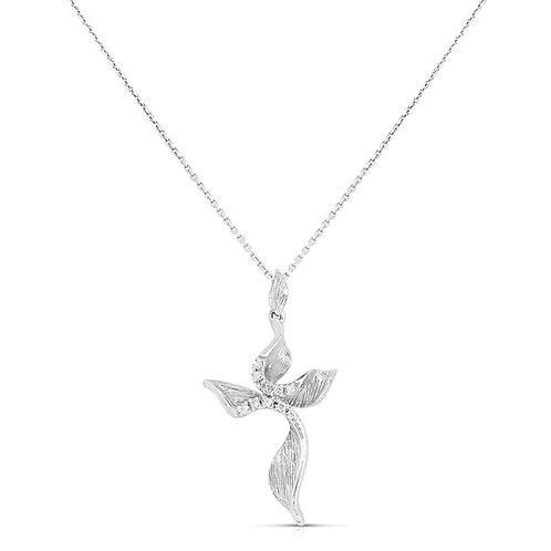 Soft Crooked Flower Diamond Cross