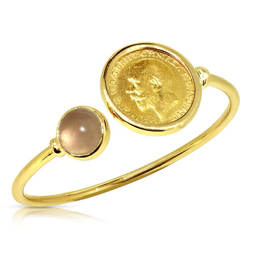 Gold Cabochon Coin Bracelet