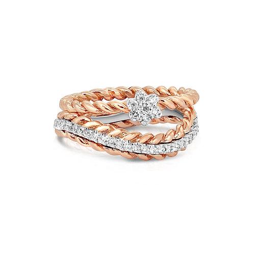 White & Rose Gold Diamond Ring Band