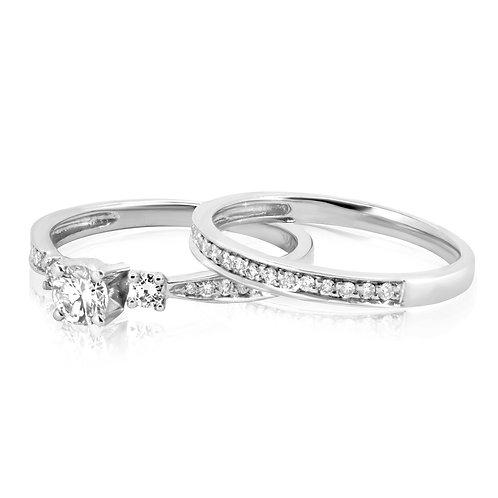 Smooth Elegant Diamond Engagement Set