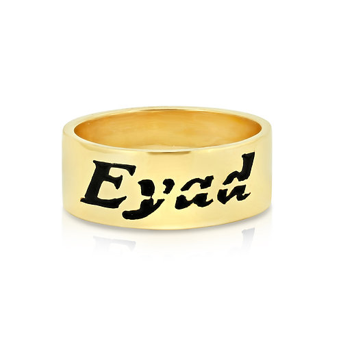 Customized Black Enamel Gold Ring