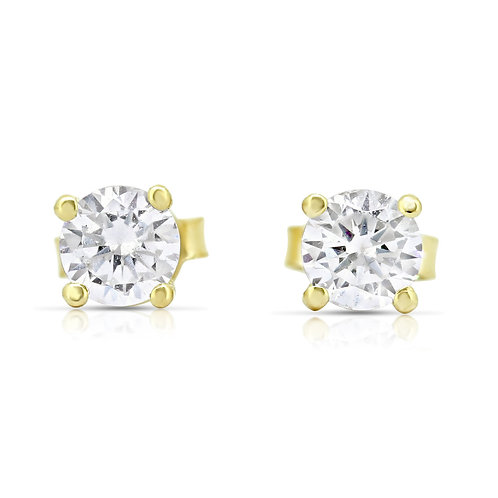 Gold CZ Solitaire Earrings