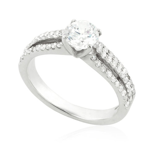 Modern three rows engagement Ring