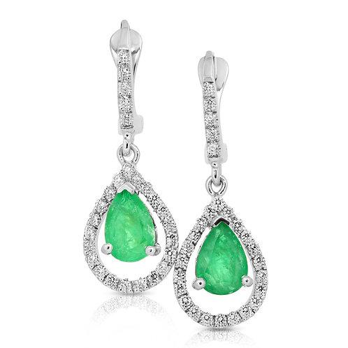 Emerald Pear Drop Earrings with Diamonds