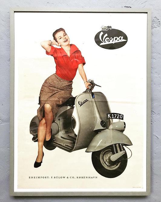 Original Vintage Framed Vespa Poster From The 1950s