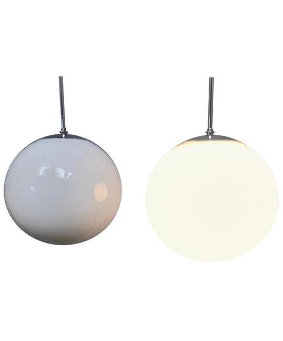 Vintage Vilhelm Lauritzen for Louis Poulsen Opaline Globe Pendent Chandeliers