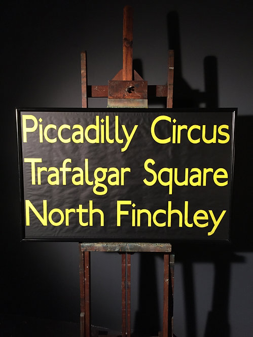 Bus destination blind Piccadilly Trafalgar