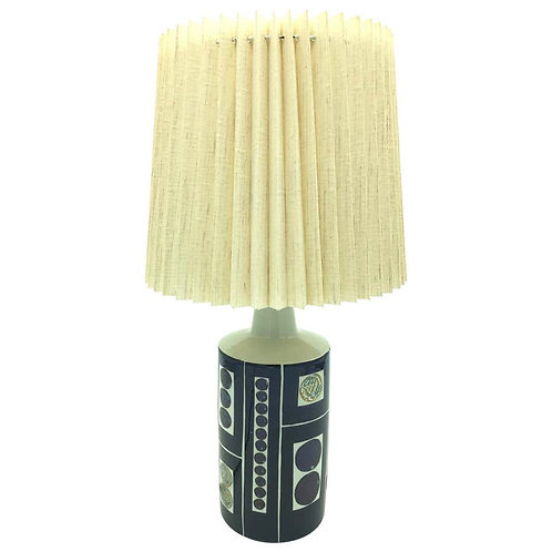 Gorgeous Midcentury Pottery Table Lamp by Fog & Mørup with Its Original Shade