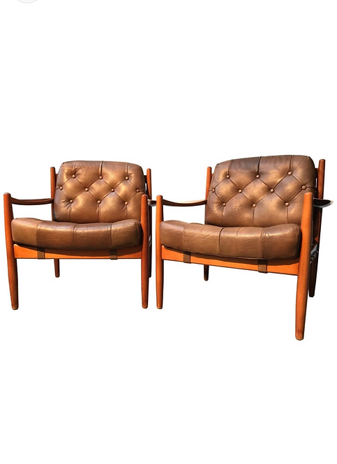 Vintage Leather & Beech Lounge Chairs by Ingemar Thillmark for OPE, 1960s, Set o
