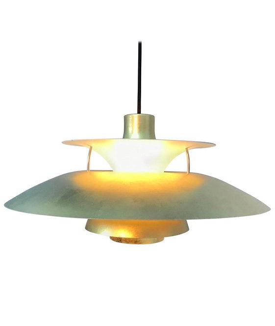 Iconic Poul Henningsen PH 5 Chandelier Pendant Lamp in 24-Carat Gold Leaf