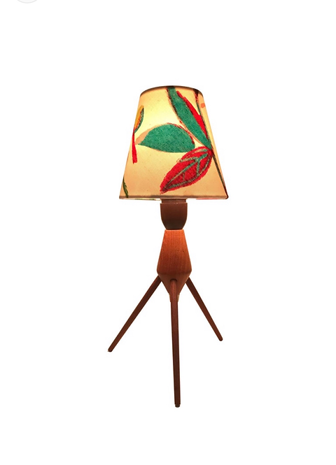 Danish Mid-Century Modern Teak Table Lamp with ArtbyMaj Lampshade