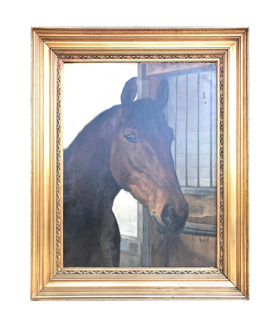 Large Beautiful Oil on Canvas of a Horse Portrait by Hans Christian Caspersen
