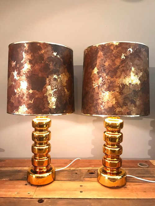 A Pair Of Vintage Table Lamps In Gilded Gold