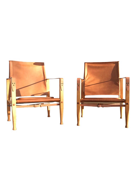 A Pair Of Vintage Refurbished Kaare Klint Safari Chairs