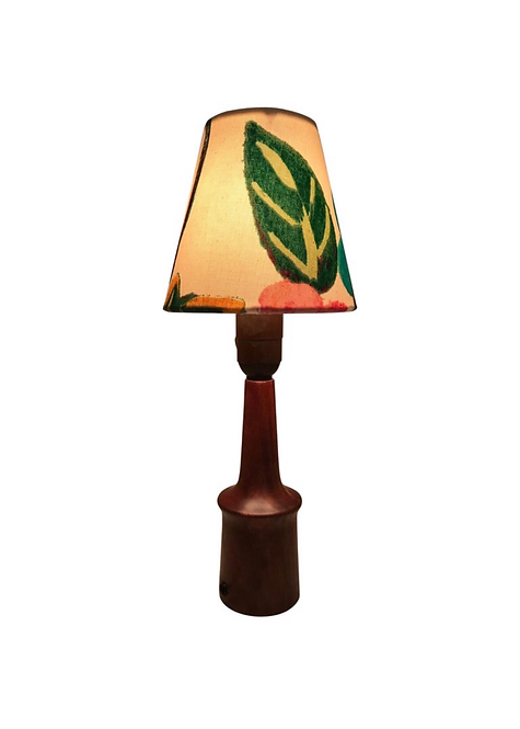 Vintage Teak Table Lamp With An ArtbyMaj Lampshade In The Manner Of Joseph Frank