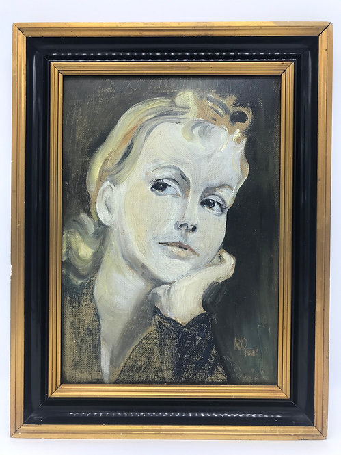 Greta Garbo Oil on Board by an Unknown Artist Dated 1931 and Signed RO