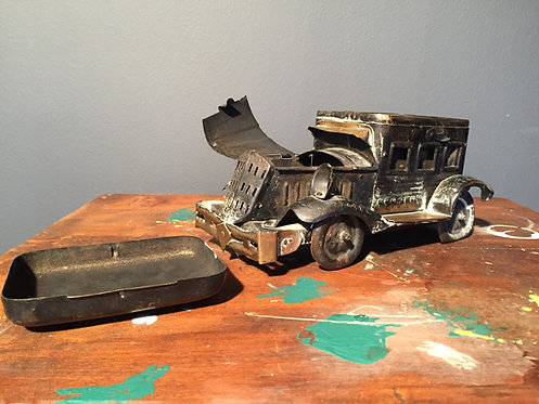 WW1/2 trench art field cooker in the shape of a car