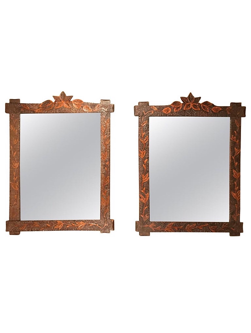 A Pair Of Matching Antique Tramp Art Mirrors