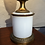 Thumbnail: Beautiful Antique French Table Oil Lamp in Opaline Glass and Brass