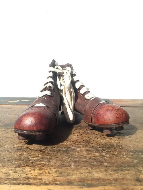 NOS leather football boots from the 1930s