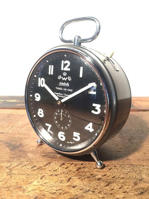 Mid century German Wehrle Three-in-one sapphire jewelled shockproof alarm clock