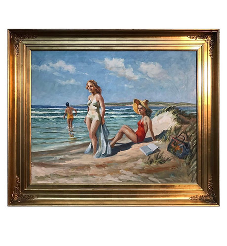 Christian Aabye Tage Oil on Canvas of Beach Scene