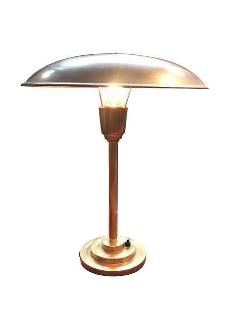 Very Attractive Art Deco Table Lamp in Copper and Brass