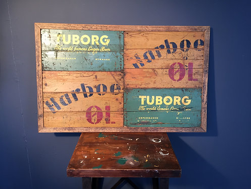 Collage made of old wooden beer crates