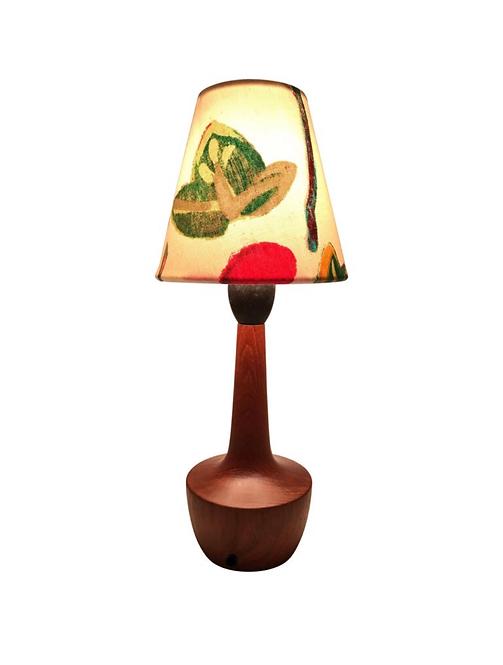 Danish Mid-Century Modern Solid Teak Table Lamp