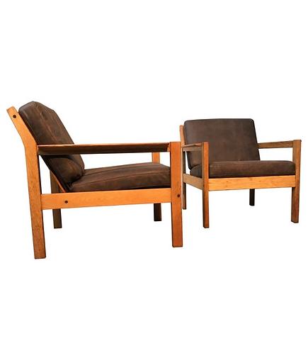 Vintage Lounge Chairs In Oak By Erik Wørts