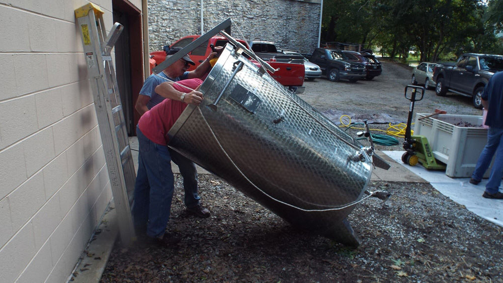 Stainless holding tanks being inspected