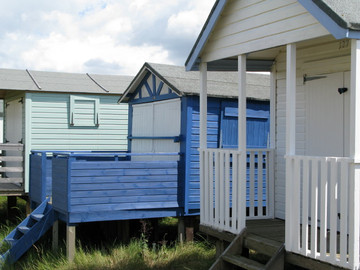 Blue and green beach huts, Old Hunstanton