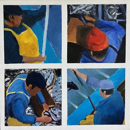 Quatre pêcheurs - Michel Bideau